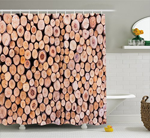 rustic-home-decor-shower-curtain-by-ambesonne-mass-of-wood-log-forest-tree-industry-group-of-cut-lum