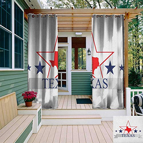 (leinuoyi Texas Star, Outdoor Curtain Kit, San Antonio Dallas Houston Austin Map with Stars Pattern USA, Fashions Drape W72 x L96 Inch Navy Blue Vermilion Pale Grey)