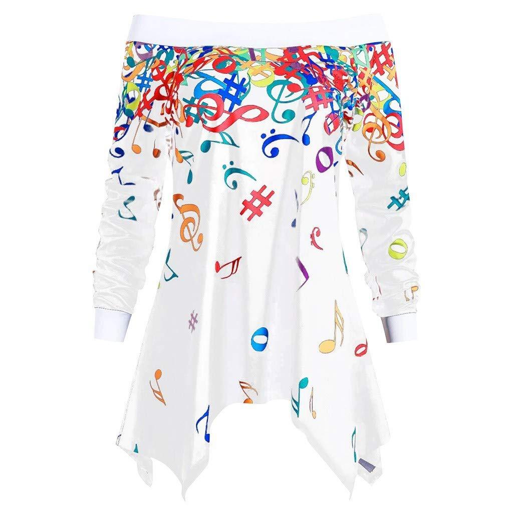 Women Long Sleeve Off Shoulder Irregular Hem Shirt Musical Note Pattern Tunic Top Pullover Blouse Daorokanduhp by Daorokanduhp Women Blouse