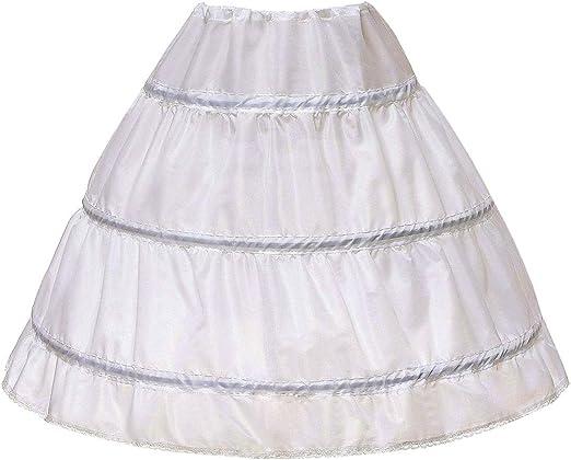 AWSALE Girls 3 Hoops Petticoat Full Slip Flower Girl Underskirt Crinoline WPT129