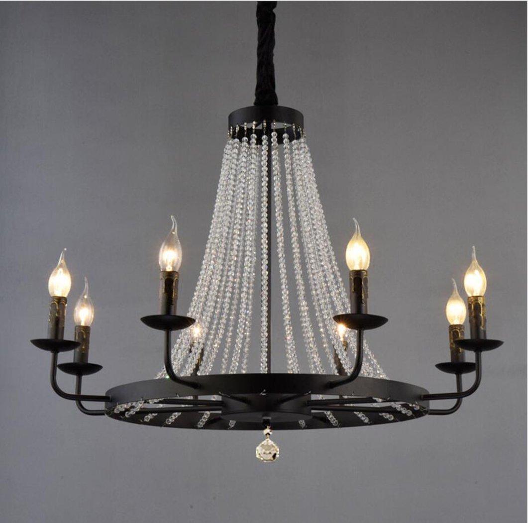 Crystal Raindrop Chandelier - Retro Iron Art 8 Arms Candle Pendant Light Flush mount LED Ceiling Light Fixture Decorative for Dining Room Bedroom Livingroom (8 heads)