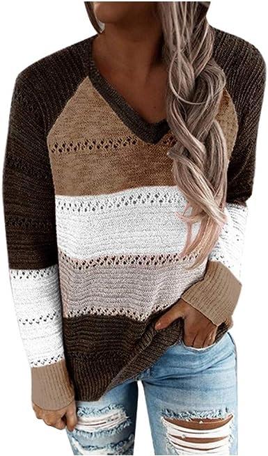 Fashion Womens Autumn Long Sleeve Patchwork Shirt Top Knit Jumper Sweater Blouse