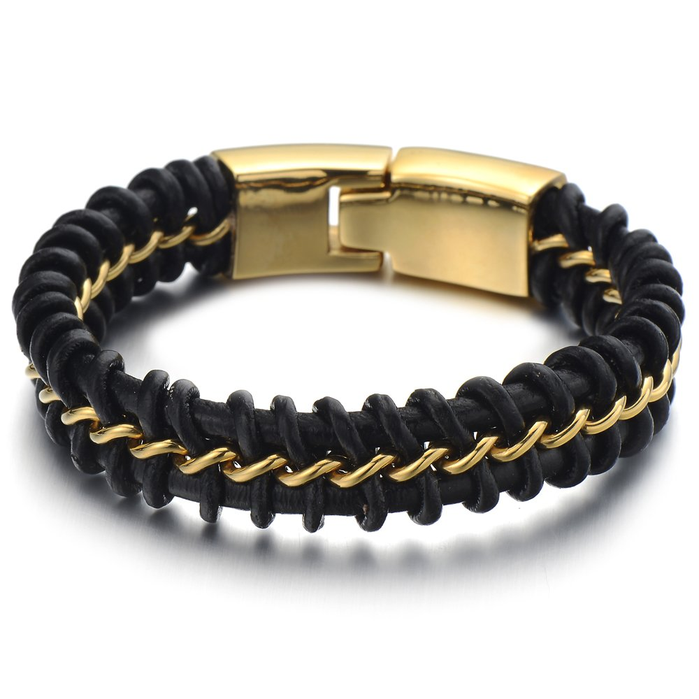 Large 8.4 Inches Mens Black Braided Leather Bracelet Interwoven with Gold Curb Chain in Steel COOLSTEELANDBEYOND MB-251