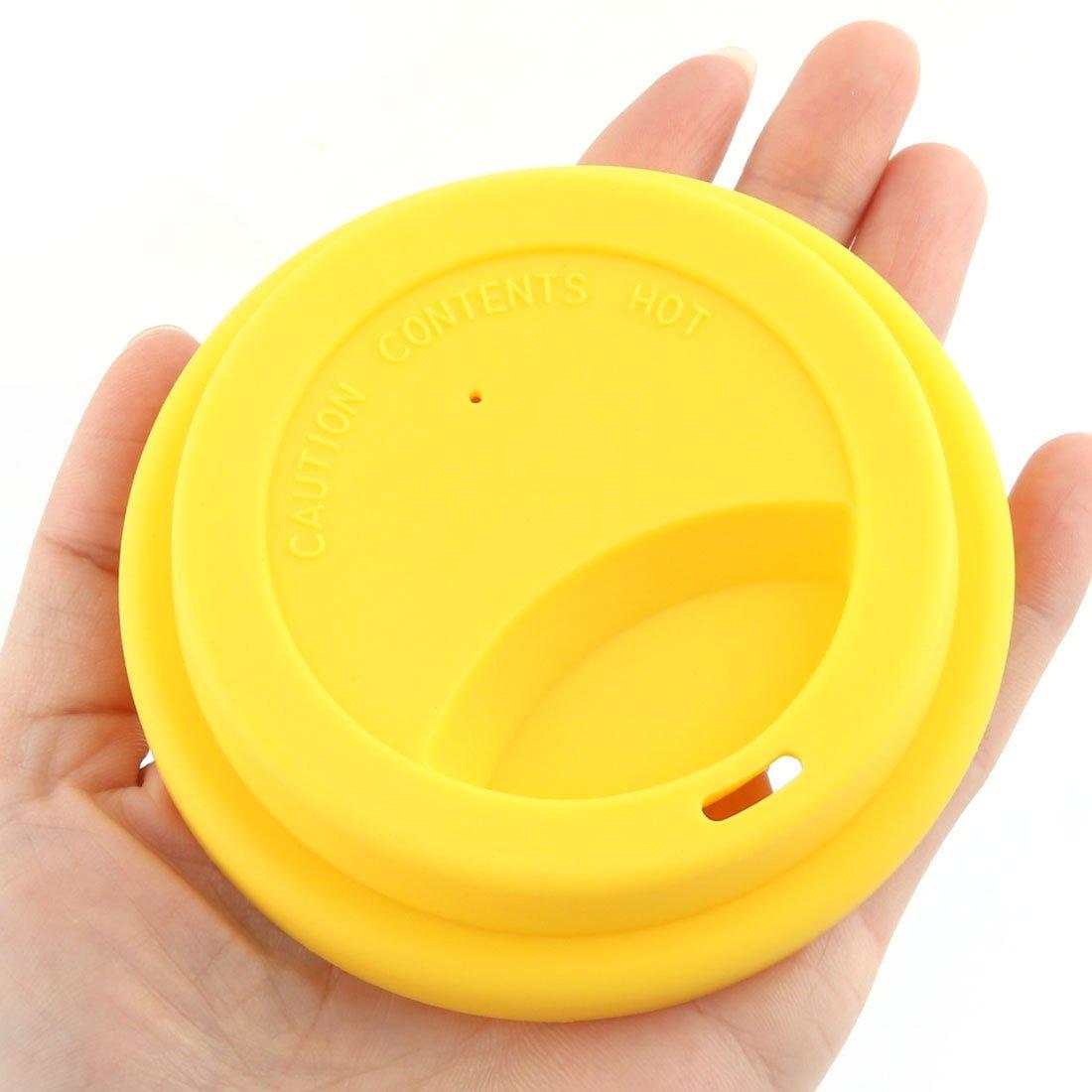 Amazon.com: eDealMax Familia de silicona reutilizable café que Bebe té tapa Taza agua Taza de la cubierta amarilla: Health & Personal Care