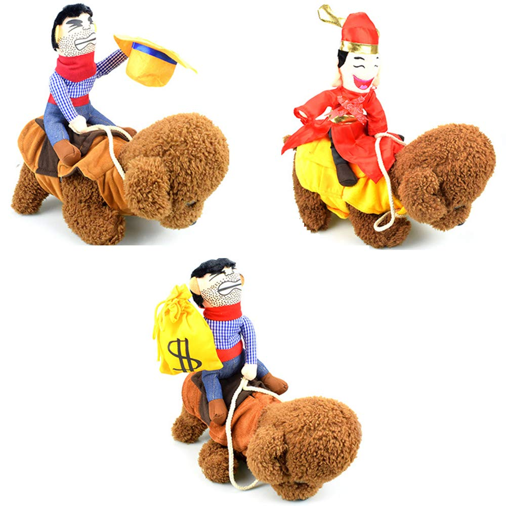 3PCS Pet Dog Costume- Suit Cowboy Rider Champion Get Money Soon Style Three Little Dolls for Halloween Day Pet Costume Very Interesting Design for Dog