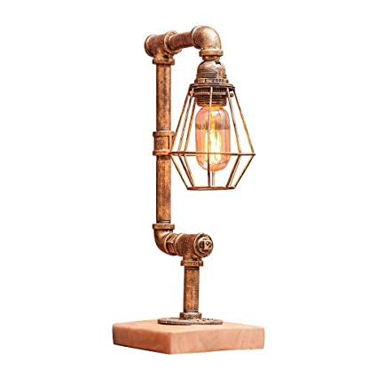 DIDIDD Vintage Industrial Table Lamp Rustic Steel Water Pipe Style Bedside Desk  Lamp Height 44cm E27