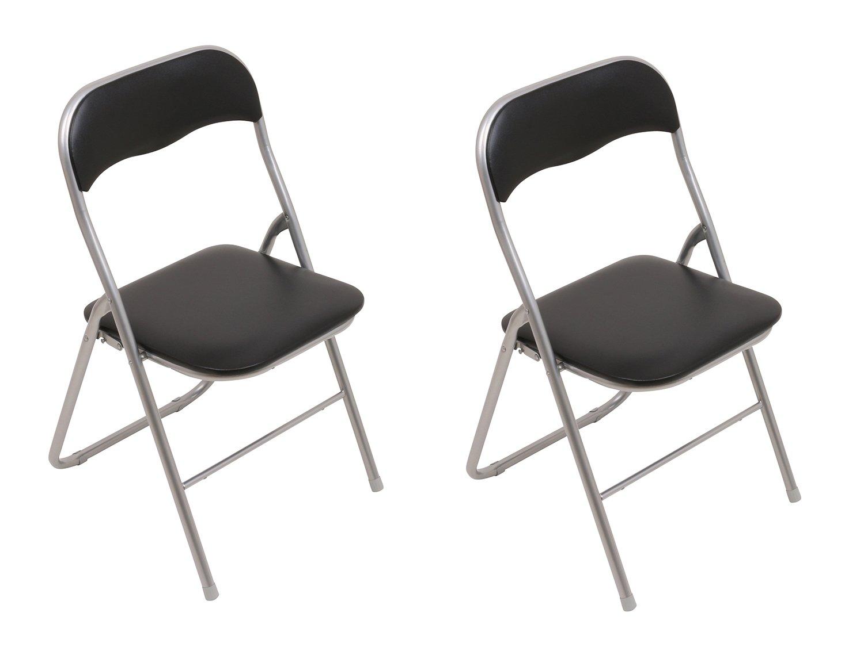 Klappstuhl  Set: 2x Klappstühle mit Metallrahmen und Kunstlederbezug, silber ...