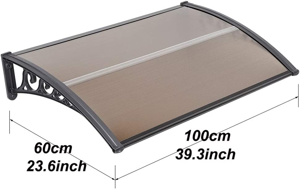 Size : 100/×60/×19cm Vordach T/ür-Verdecke Regen Sonne Schnee in 5 Gr/ö/ßen /Überdachung Fenster Canopy Anti UV Ultralight DIY Sun Shelter Canopy Tarp Sunshelter-Brown
