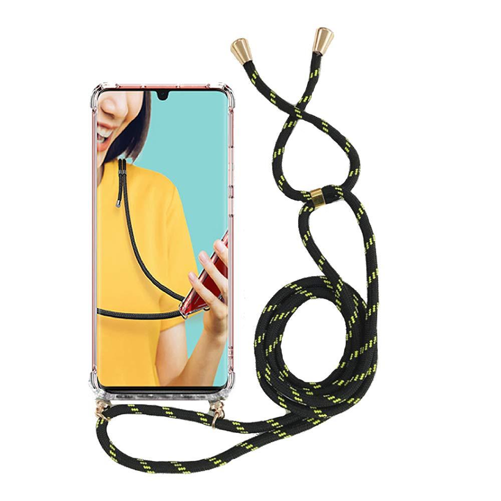 Miagon Für IPhone 6S   6 Halskette HülleKlar Silikon Handy Schutzhülle Kordel Zum Umhängen Necklace Crossbody Cover Mit Band SchnurGelb Schwarz