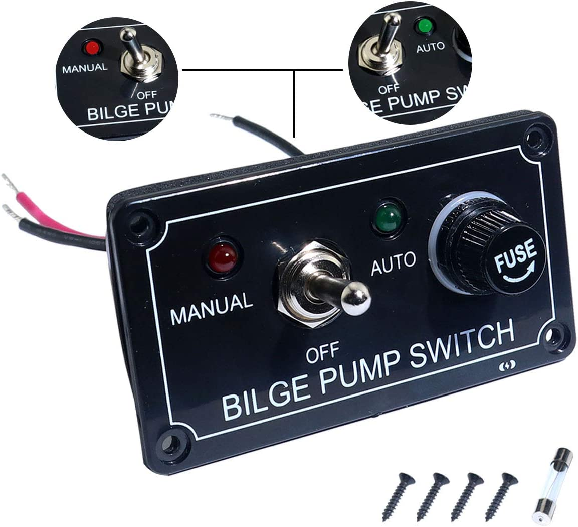 boeray Rocker Toggle Switch Panel and Fuse DC 12V 24V Max 15A SPST ON/Off Marine Switch Panel