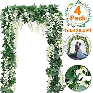 4 PCS 6.6Ft Artificial Wisteria Flowers Garland Fake Wisteria Floral Garland Ivy Vine Silk Flowers String for Wedding Decorations Garden Home Party Indoor Outdoor Decor(White) 90