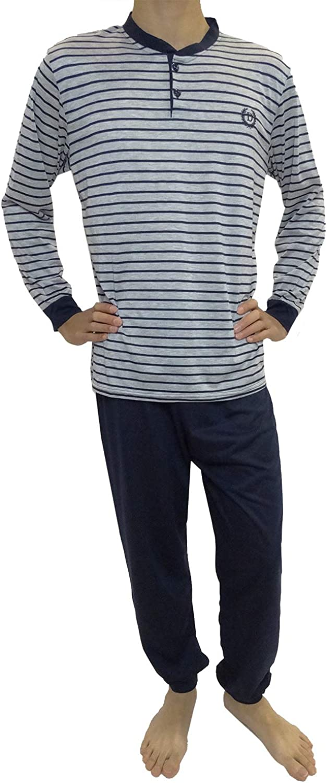 Pijama de Caballero Hombre de Algodon Fino Manga Larga con Pantalon Largo de pu/ño y Cuello Abierto con 2 Botones//Ropa para Dormir de Hombre Mini kitten