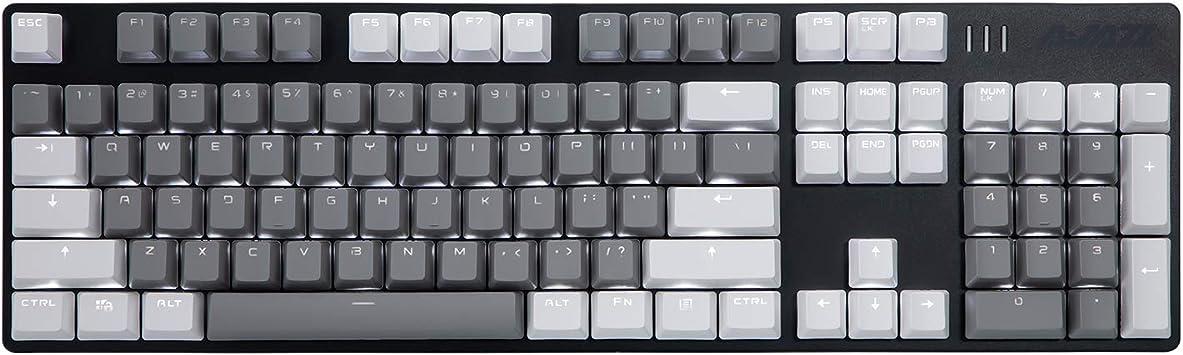 Teclado mecánico para juegos AJAZZ AK50 - Teclas PBT - Coincidencia de color gris-blanco - retroiluminado blanco - interruptores azules - negro