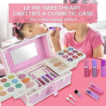 Set de cosméticos para niñas Paleta de Maquillaje Sombra de Ojos Esmalte de uñas Bálsamo Labial Polvo de Agua Caja de Maquillaje para niños: Amazon.es: Juguetes y juegos