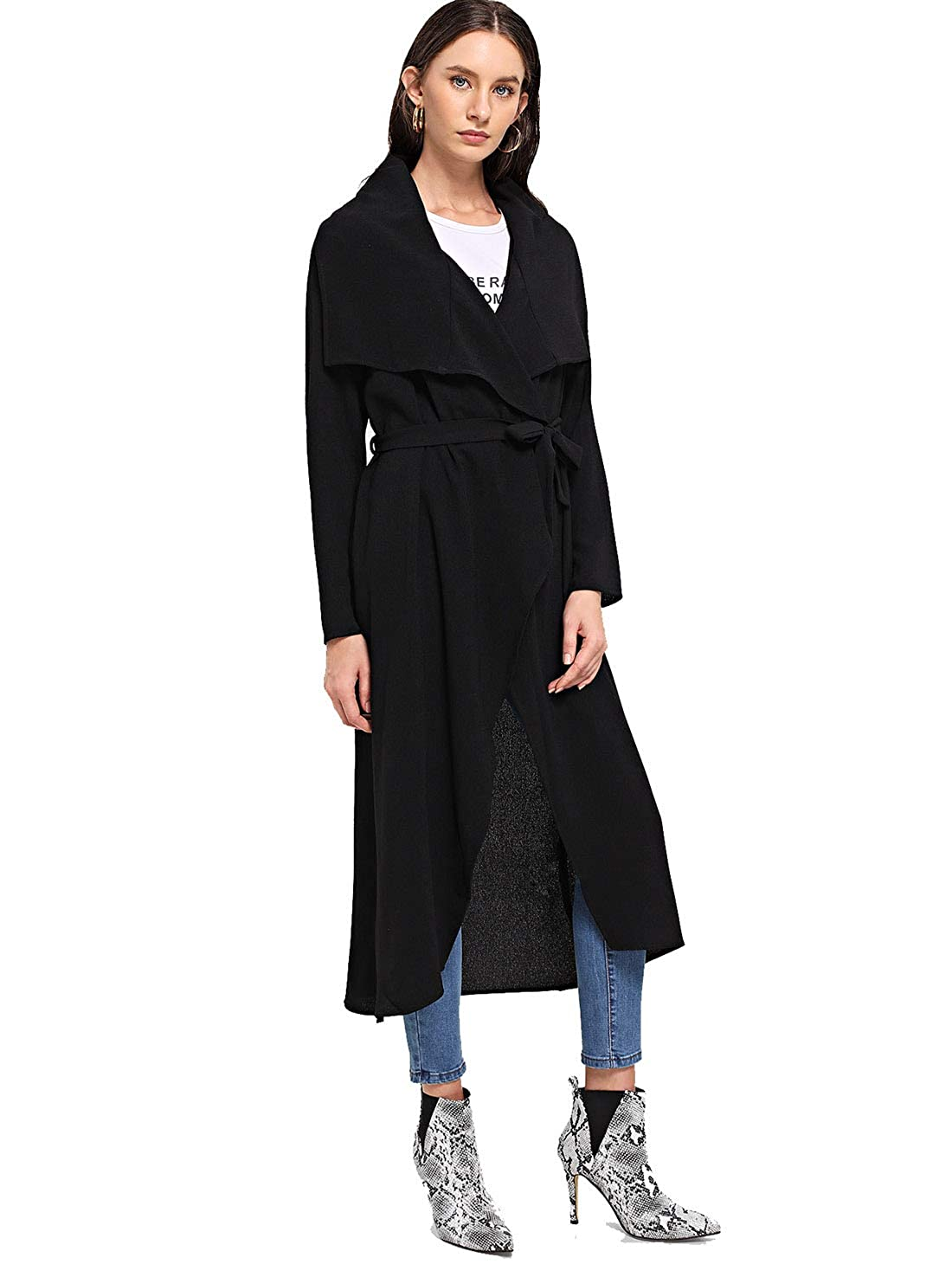 Romwe Womens Casual Long Sleeve Lapel Collar Waterfall Trench Coat Cardigan Outwear