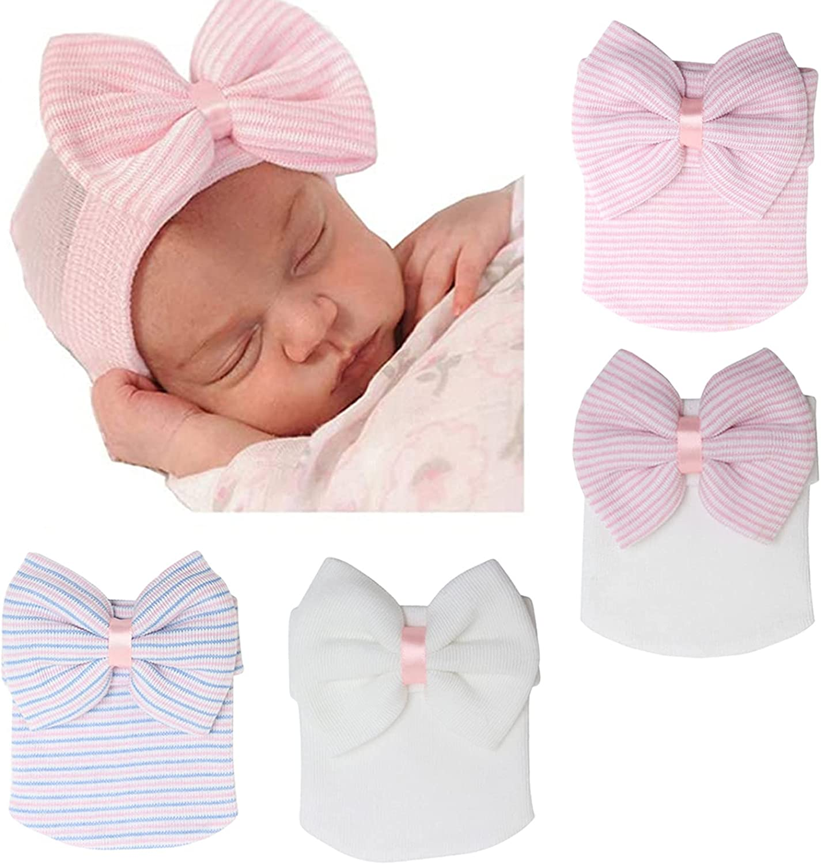 DRESHOW BQUBO 3/4 Pack Newborn Hospital Hat Infant Baby Hat Cap with Big Bow Soft Cute Knot Nursery Beanie