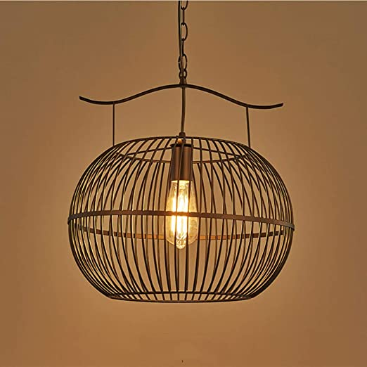 Lámpara De Araña Retro Lámpara De Jaula De Pájaros De Hierro ...