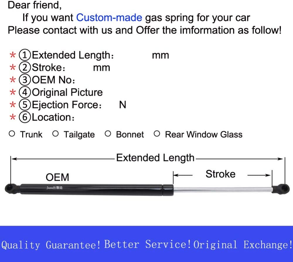 Molle a gas per portellone posteriore JINGLINGKJ Q451082510 1101320749 BGS10997 2 pezzi
