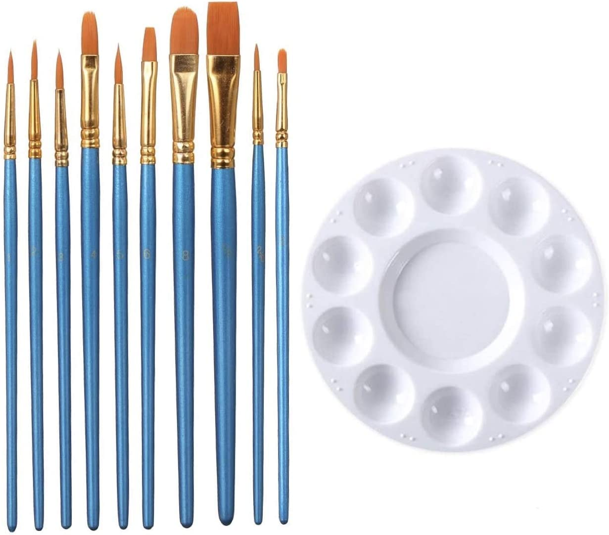 10Pcs Artists Nylon Hair Round Pointed Acrylic Watercolor Tip Paint Brush Set