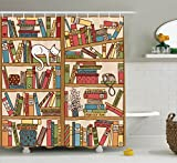 Cat Lover Decor Shower Curtain Set By Ambesonne, Nerd Book Lover Kitty Sleeping Over Bookshelf In Library Academics Feline Cosy Boho Design, Bathroom Accessories, 69W X 70L Inches, Multi