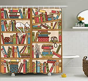 Cat Lover Decor Shower Curtain Set by Ambesonne, Nerd Book Lover Kitty Sleeping Over Bookshelf in Library Academics Feline Cosy Boho Design, Bathroom Accessories, 84 Inches Extralong, Multi