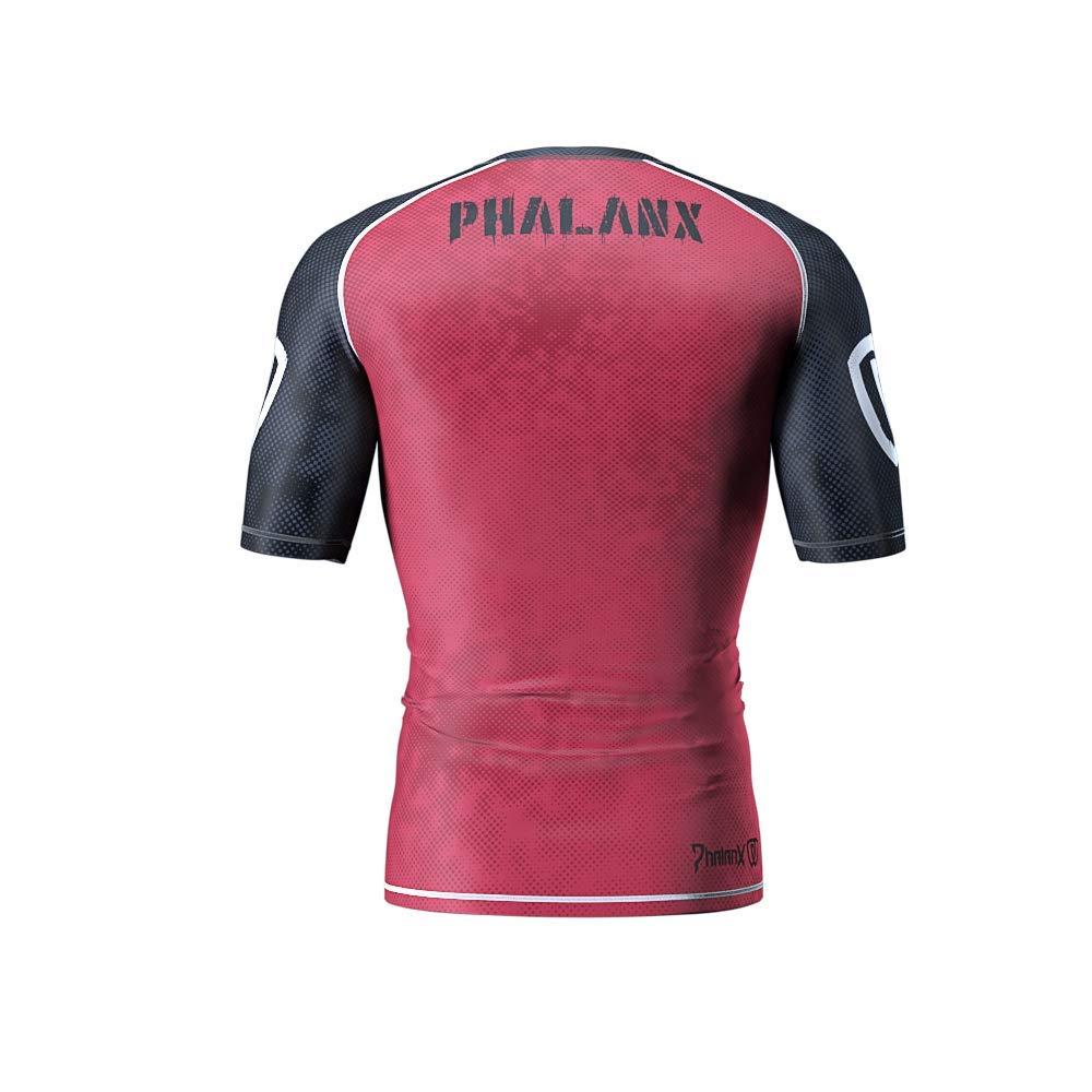 Phalanx Mens Rash Guard for BJJ Jiu Jitsu Short Sleeve Competition Grade MMA Shirt