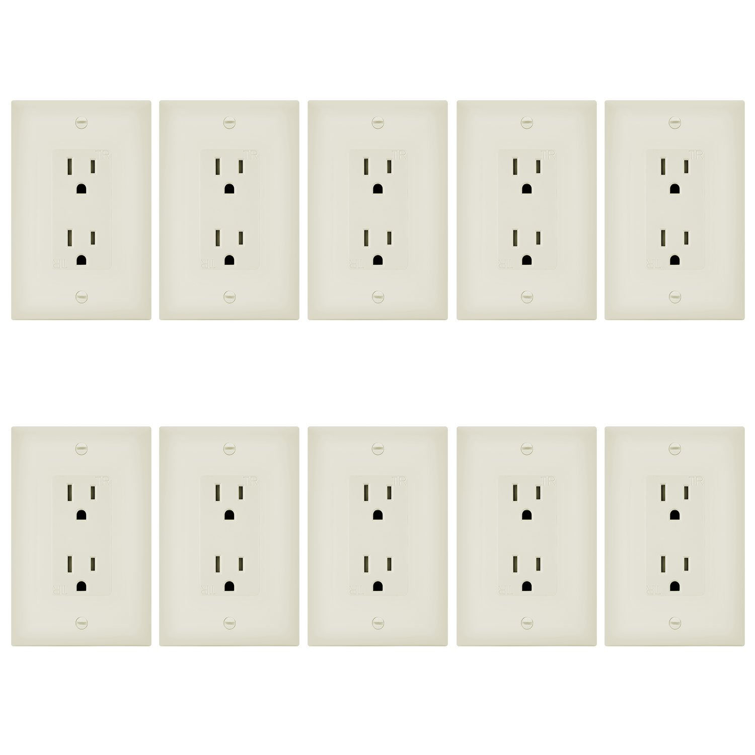 Enerlites 61501-TR-LAWP-10PCS Decorator Receptacle and Wall Plate Cover, Tamper Resistant, Self-Grounding, 2-Pole 3-Wire, 15A/125VAC, Light Almond (Pack of 10)