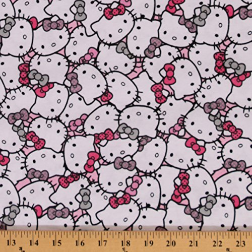 Flannel Hello Kitty Packed Pink Bows Fuschia Cotton Flannel Fabric Print (52648-6000710) (Hello Flannel Kitty Fabric)