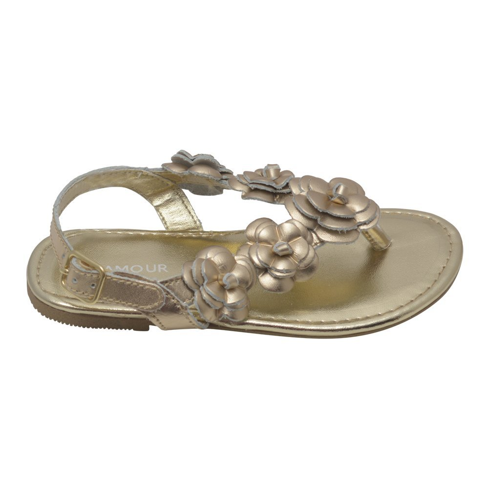 LAmour Girls Gold Flower Blossom Accent Buckle Thong Sandals 11-4 Kids