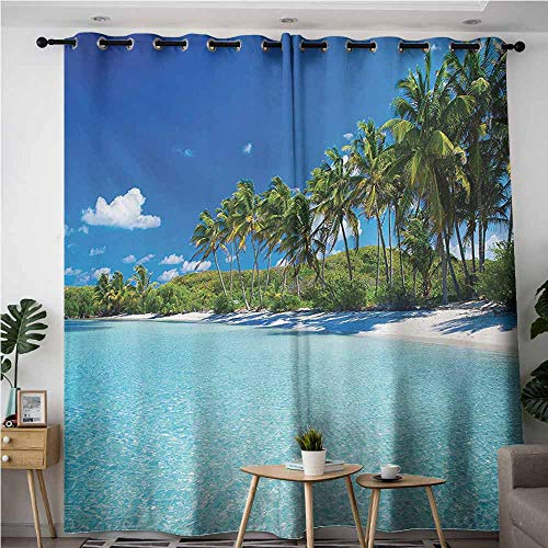 - AndyTours Window Curtain Panel,Ocean,Relaxing Beach Resort Spa Palm Trees and Sea Exotic Caribbean Coastline,for Bedroom Grommet Drapes,W84x84L,Turquoise Blue Green