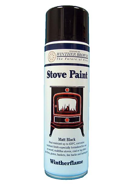 PINTURA para estufa negro mate 36 x 450 ml barbacoa/estufas/para chimeneas/