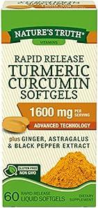 Nature's Truth Rapid Release Turmeric Curcumin Softgels, 1600mg - 60 Liquid Softgels Each (Value Pack of 2)