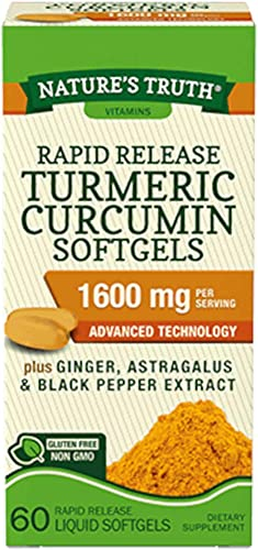 Nature s Truth Rapid Release Turmeric Curcumin Softgels, 1600mg – 60 Liquid Softgels Each Value Pack of 2