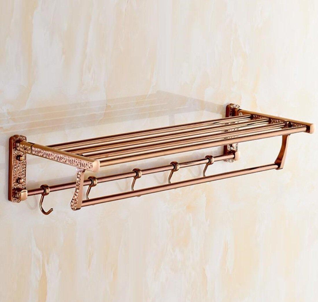 GL&G European luxury Rose gold Bathroom Bath Towel Rack Double Towel Bar Space aluminum Bathroom Storage & Organization Bathroom Shelf Shower Wall Mount Holder Towel Bars,6023.513.5cm by GAOLIGUO (Image #5)