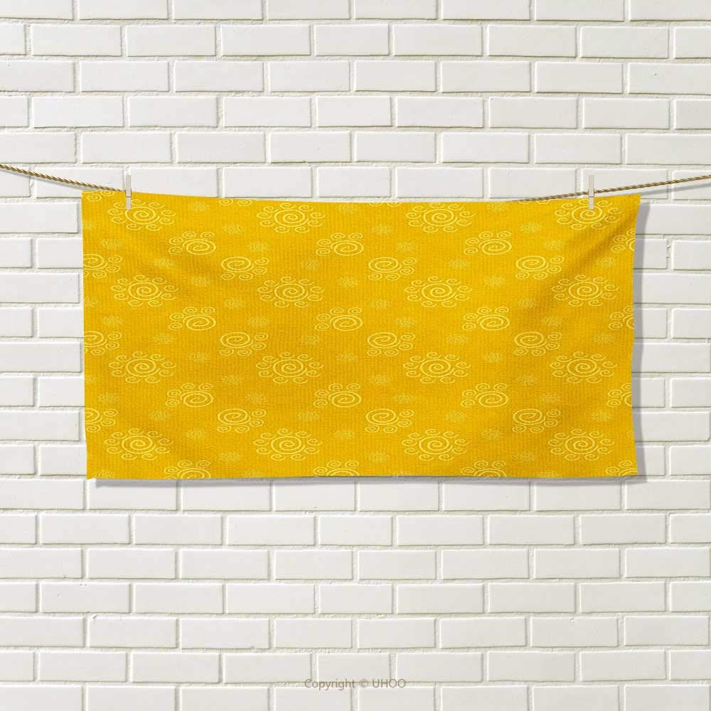 Chaneyhouse Yellow,Hand Towel,Sun Solar Hand Drawn Style Pattern with Little Spiral Spots Like Hot Summer Day Inspired,Quick-Dry Towels,Yellow Size: W 20'' x L 20''