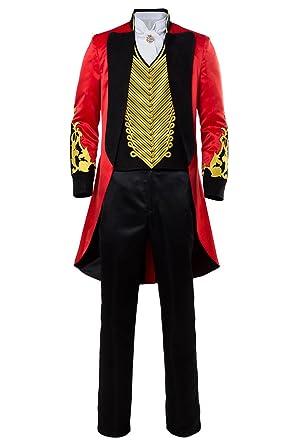 Halloween Adulte Gothique Queue de Pie Costume Cirque pour Homme Ringmaster  Deguisement Performance Uniforme Or Rouge Veste de Velours Brode Gilet  Manteau  ... 8f2e6b66460
