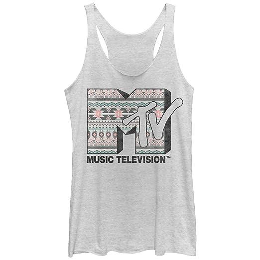 f9f76d20d21d0 Amazon.com  MTV Women s Tribal Print Logo Racerback Tank Top White ...
