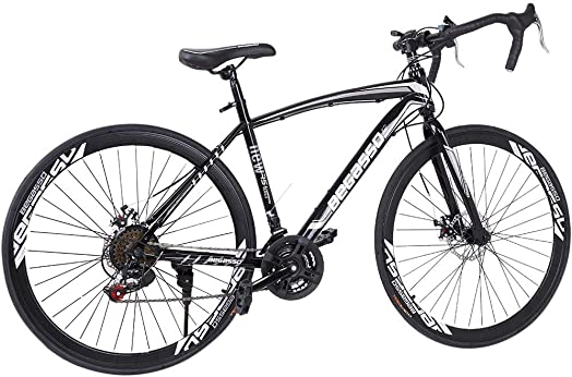 Lroplie R2 Commuter Aluminum Road Bike 21 Speed 700C Wheel Suspension Fork Rear Suspension Bicycles for Intermediate to Advanced Riders