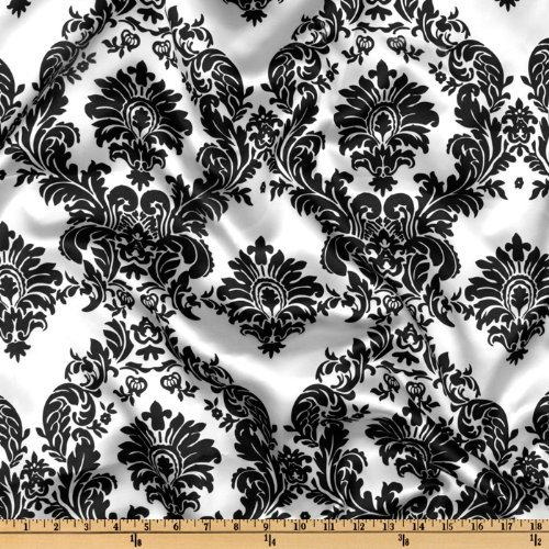 1 X 58'' Wide Flocked Damask Taffeta / $2.35 Fabric By The Yard