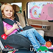 Best Car Window Shade for Side and Rear Window - Protect Your Baby and Kids in the Back Seat from Sun Glare and Heat. (Pink Elephant)