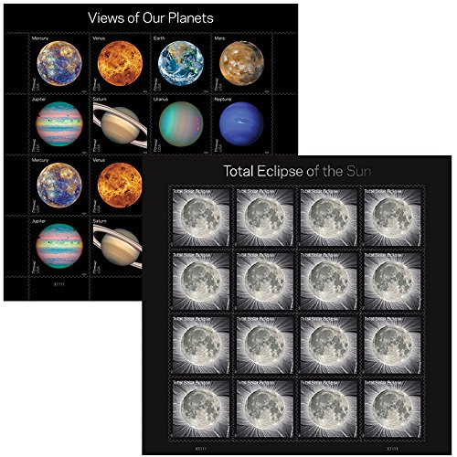 (1 Sheet of Views of Our Planets + 1 Sheet of Total Eclipse of the Sun USPS Forever First Class Postage Stamps Self-Adhesive (1 Combo set))