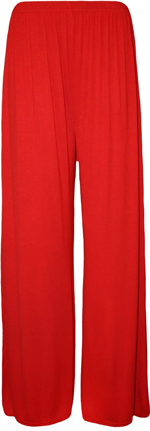 28f8a5a5cad Papaval Women Ladies Palazzo Plain Flared Wide Leg Baggy Trousers ...