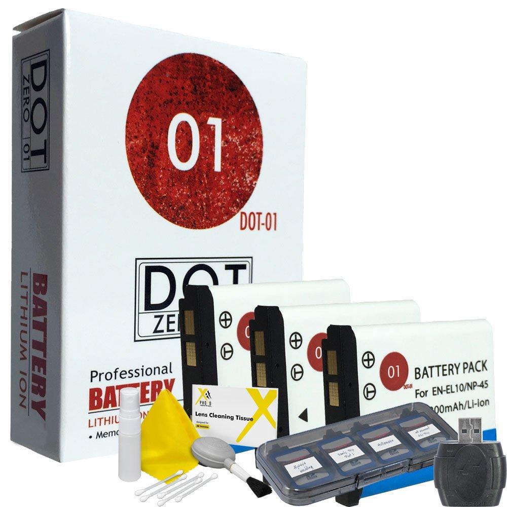 DOT-01 3X Brand Fujifilm XP120 Batteries for Fujifilm XP120 Waterproof Camera and Fujifilm XP120 Accessory Bundle for Fujifilm NP45S NP-45S