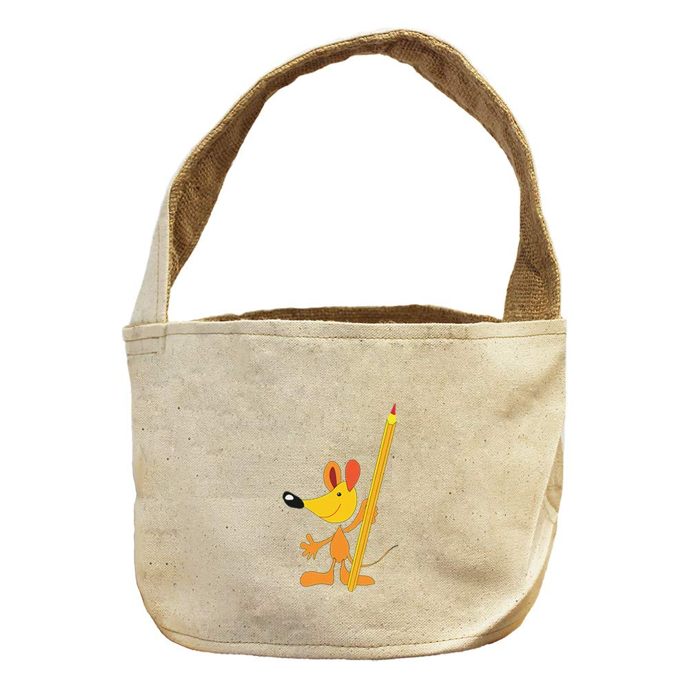 Style in Print Mouse with Pencil Animals Canvas and Burlap Storage Basket