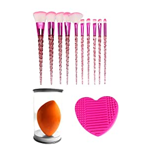 SZSL Unicorn star point crystal handle spiral pattern makeup brush set, advanced synthetic foundation brush mixed shadow makeup brush Foundation, blush, eyeshadow brush and makeup brush set, with blender sponge and brush cleaner (10+2 pcs, red pink) (one size, red pink)