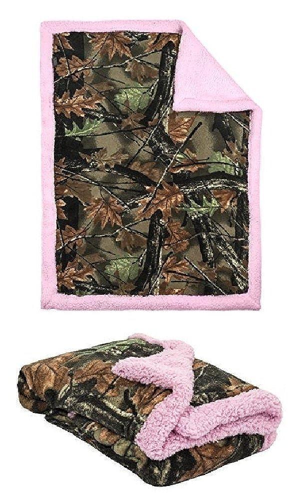 Baby Girls Camo with Pink Soft Sherpa Fleece Baby Blanket