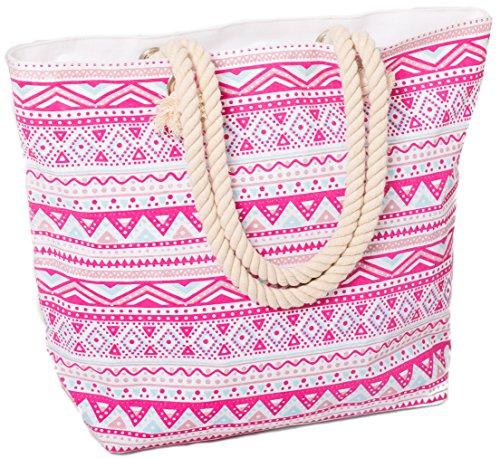 Beach Bag Tote for Women Large Canvas Rope Handles Shoulder Travel Aztec Pattern - Rope Handle Beach Bag