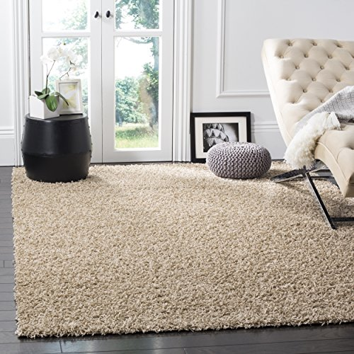 Safavieh Athens Shag Collection SGA119G Beige Area Rug, 10 feet by 14 feet (10' x 14') (10 X 14 Rug)