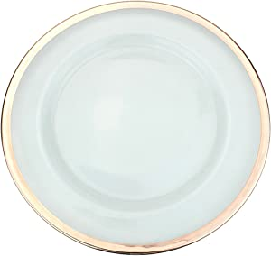 Ms Lovely Clear Glass Charger 13 Inch Dinner Plate with Metallic Rim - Set of 4 - Rose Gold