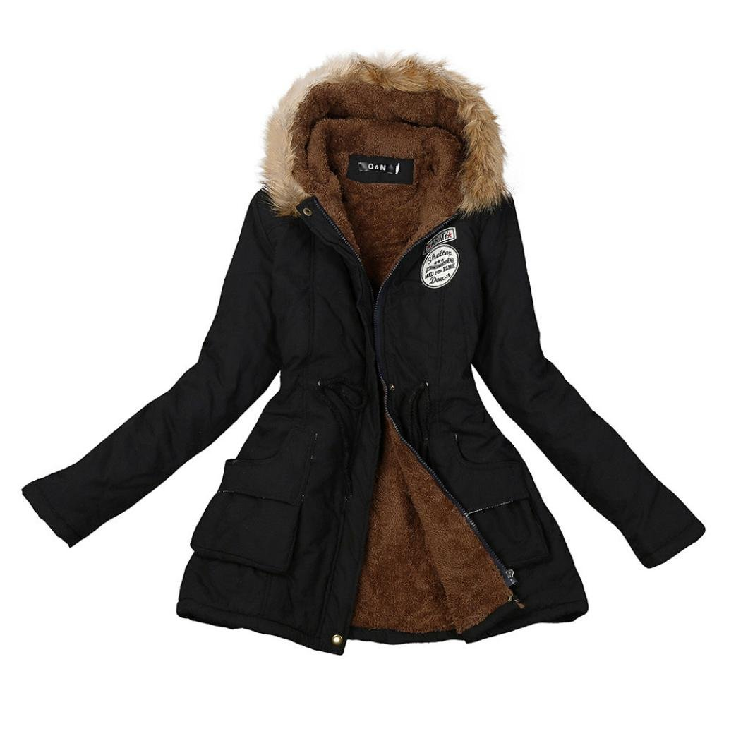 AutumnFall Women Warm Long Coat Fur Collar Hooded Jacket Winter Parka Outwear (XL, Black)
